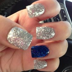 Dallas Cowboy nails!!! Silver and blue glitter!!!