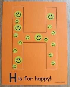 H is for happy! Editable alphabet pages for phonological awareness. Alphabet activities for preschool, pre-k, and early childhood education. Create a letter book or use for letter of the week activities. Preschool Letter Crafts, Alphabet Letter Crafts, Abc Crafts, Alphabet Book, Preschool Curriculum, Preschool Education, Toddler Alphabet, Kindergarten, Homeschool