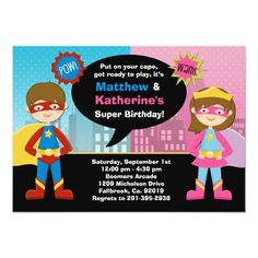 Shop Superhero and Super Girl Birthday Party Invitation created by eventfulcards. Personalize it with photos & text or purchase as is! Superhero Birthday Invitations, Superhero Birthday Party, Girl Birthday, Birthday Ideas, Fourth Birthday, Superman Party, Happy Birthday, Sleepover Birthday Parties, Joint Birthday Parties