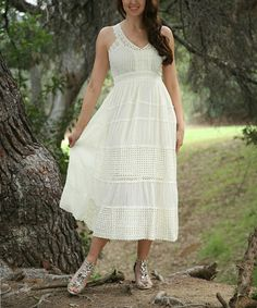 Love this Ivory Lace-Panel Empire-Waist Midi Dress - Women by Ananda's Collection on #zulily! #zulilyfinds