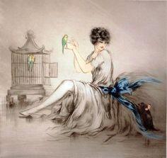 Icart, Louis (b,1888)- Cat & Birds -2b