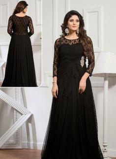 Black designer Indian evening gown for girls
