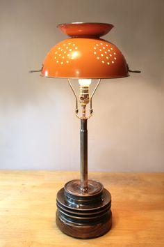 Mossy's Orange Colander Lamp. mossysmostwanted.com Modern Industrial Furniture, Vintage Industrial Lighting, Light Table, Lamp Light, Colander Light, Old Oak Tree, T Lights, Upcycled Vintage, Table Lamp