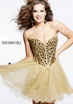 A Line Gold Strapless Rhinestone Top Corset-style Evening Dresses