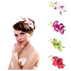 Hawaiian Hair Flowers Beach Wedding Orchid Flower Leopard Hair Clip Barrette Accessories >>> Check out this great article. #hairaccessories