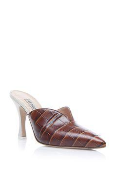 ATTICO Monica Crocodile Mules. #attico #shoes #sandals