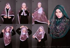 >>> I am going to try this. Square Hijab Tutorial, Hijab Style Tutorial, Scarf Tutorial, Modern Hijab Fashion, Islamic Fashion, Muslim Fashion, Casual Hijab Outfit, Hijab Dress, How To Wear Hijab