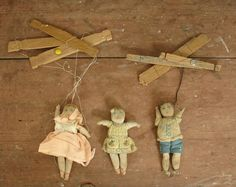 3 antique beautiful folk art hand painted handmade by outdated, $54.99