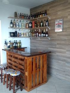 Diy Home Bar, Home Bar Decor, Diy Bar, Bars For Home, Basement Bar Designs, Home Bar Designs, Build A Bar, Garage Pub, Garden Bar Shed
