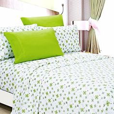 American Home Collection Deluxe 6 Piece Printed Sheet Set Highest Quality Of Brushed Fabric Deep Pocket Wrinkle Resistant  Hypoallergenic Full Lime Green Floral * You can find out more details at the link of the image.-It is an affiliate link to Amazon.