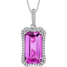 MSRP: $429.99  Our Price: $169.99  Savings: $260.00         Item Number: SP10998    Availability: Usually Ships in 5 Business Days         PRODUCT DESCRIPTION:    This beautiful pendant for her features exceptional design, craftsmanship and finishing. A brilliant halo perfectly frames a Lab Created Cushion Cut Pink Sapphire with a Fuchsia Pink hue, and is surrounded by super sparkling white cubic zirconia.    A perfect gift for Mothers Day, Birthdays, Valentines Day, Graduation, Christmas or…