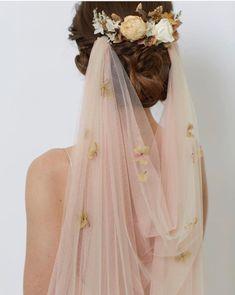 Draped blush pink wedding veil by Sash + Veil www.sashandveil.co.uk
