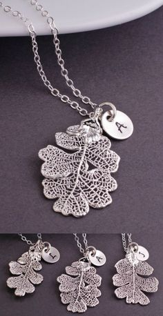 This necklace is comprised of a REAL lacey oak leaf that has been dipped in sterling silver. Each leaf is unique and one of a kind. They average approximately 1 1/4 inches long and 3/4 inches wide. *T