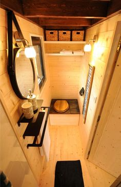 The Calypso is a traditional tiny house built by Baluchon in Nantes, France. The cedar exterior has a Yakisugi highlight, giving it a distinctive design. Yurt Living, Tiny House Living, Tiny House Bathroom, Small Bathroom, Lavabo Exterior, Family Glamping, Toilet Installation, Cabana, Composting Toilet