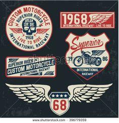 Motorcycle typography set, t-shirt graphics, vectors.