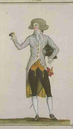 "Man in striped coat, from ""Magasin des Modes"", January 1788."