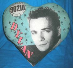 Rare Vintage 1991 TV Beverly Hills 90210 Dylan Heart Shape Pillow, Luke Perry. $19.99