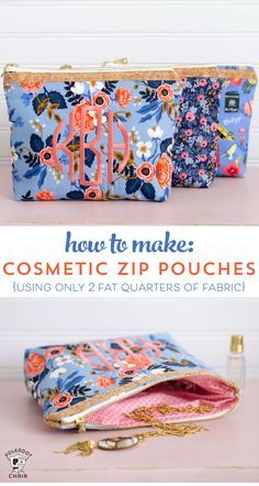Fat Quarter Zip Pouch Sewing Pattern How to sew a cosmetic zippered pouch using only two fat quarters of fabric. Makes a great gift! A zip pouch sewing pattern. Sewing Hacks, Sewing Tutorials, Sewing Crafts, Sewing Tips, Diy Crafts, Sewing Ideas, Free Tutorials, Sewing Blogs, Sewing Basics