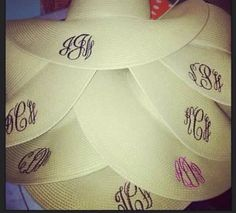 Monogrammed beach hats. Beach VACA for the bachelorette party, each bridesmaid would get one!