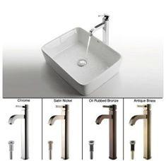 "View the Kraus C-KCV-121-1007 Bathroom Combo - 18-3/4"" Ceramic Vessel Bathroom Sink With Vessel Faucet, Pop-Up Drain at Build.com."