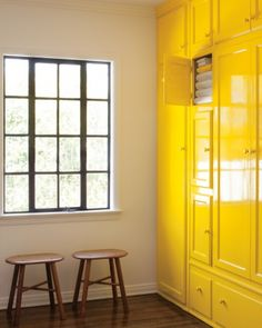 Bright yellow storage - for around the corner in my dining room?