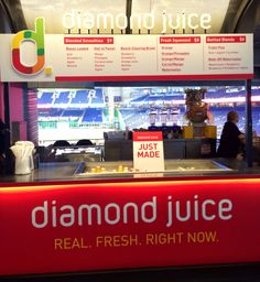 Diamond Juice – Fresh-squeezed blends include the Triple Play (kale, apple and cucumber) and the Walk-off Watermelon (watermelon, raspberry, blueberry, strawberry and agave). – Portable Stand, Section 18