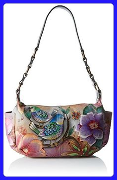 Anuschka Handpainted Leather East West with Side Pockets, Blissful Birds - Shoulder bags (*Amazon Partner-Link)