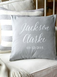Our favorite Nursery Accent Pillows: love this chic personalized name pillow cover from Etsy!
