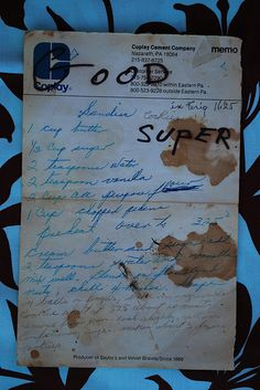 Good Super Recipe from Grandmother Pearl Keith :: handwritten recipe card :: from the heart :: preserving recipes :: Flickr photography :: alli tray :: fly birdie studio collection