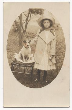 Antique Postcard Photo RPPC Little Girl and Dog Jack Russell Terrier | eBay