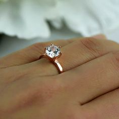Sz ct 6 Prong Solitaire Engagement Ring, Round Man Made Diamond Simulant, Sterling Silver, Rose Gold Plated, Final Sale Round Solitaire Engagement Ring, Engagement Ring Buying Guide, Engagement Ring Cuts, Man Made Diamonds, Lab Created Diamonds, Diamond Simulant, Promise Rings, Beautiful Rings, Natural Diamonds