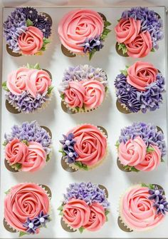 I love free reign on cakes and cupcakes and usually when I do my best work! Vanilla sponge cupcakes with edible cookie dough centers and a… Karlees Cupcakes - Milk and Water Baking co. Image may contain: food Cupcakes Lindos, Cupcakes Flores, Floral Cupcakes, Fun Cupcakes, Birthday Cupcakes, Baking Cupcakes, Wedding Cupcakes, Cupcakes Design, Cupcake Icing Designs