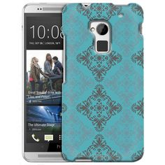 HTC One Max Victorian Vintage Blue and Grey on Teal Slim Case