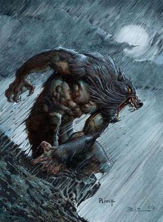 """Werewolf Art From The Comic Book """"Thicker Than Blood"""" 2007 Cover Art by Mike Ploog & Simon Bisley Simon Bisley, Bark At The Moon, Howl At The Moon, Fantasy Kunst, Fantasy Art, Fantasy Creatures, Mythical Creatures, Art Wolfe, Werewolf Art"""