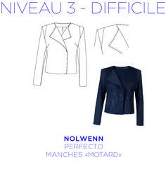 Patron - Perfecto Nolwenn Motard, Perfecto avec incrustation sur les épaules, patron à taille réelle du 36 au 44