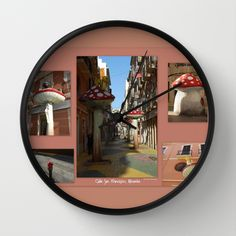 """""""Street of Giant Mushrooms""""  Available in natural wood, black or white frames, $30.00 - our 10"""" diameter unique Wall Clocks feature a high-impact plexiglass crystal face and a backside hook for easy hanging. Choose black or white hands to match your wall clock frame and art design choice. Clock sits 1.75"""" deep and requires 1 AA battery (not included). #clock #wall #mushrooms #homedecor #street #spain #alicante #fun"""