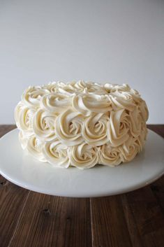Cake frosted with rosettes and american buttercream