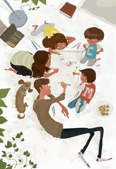 """Pascal Campion Art ( """"The Big Pad. Just hanging out with the kids Illustration Art Drawing, Children's Book Illustration, Art Drawings, Pascal Campion, Family Drawing, Street Art, Images, Character Design, Sketches"""