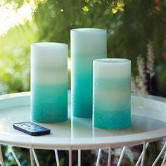 LED-Pillar-Kerzenset Lichtillusion, inkl. Fernbedienung, 7x17, 15, 12 cm, Blaues Farbspiel