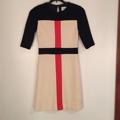 "Milly color block dress  ""An Original"" Milly of New York long sleeve vintage color block dress, the size says ""P"" for petite and would fit anywhere from a 0 - 4! So perfect for being professional and high fashion!  Milly Dresses Long Sleeve"