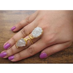 Crystal Ring/Raw Gemstone Ring/Druzy Rings/White by FootSoles, $32.90