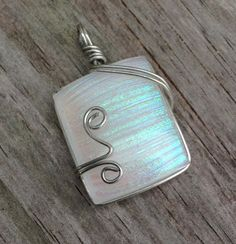Unique Iridescent White Fused Glass Pendant by struthersstudios