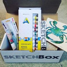 Our September basic box: 12 watercolor paints, a Pentel aquash water brush, and a Sakura micron pen! Coffee Gift Baskets, Subscription Boxes, Monthly Subscription, Sketch Box, Art Shed, Box Art, Art Lessons, Gifts For Kids, Art Pieces