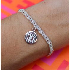 Shiny and stunning, the sterling silver monogrammed strand bracelet is classically elegant! #SwellCaroline #Monograms