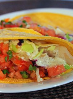 Fish Tacos (with homemade pico de gallo and spicy dill sauce