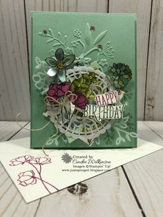 Berry Burst, Big Shot, Happy Birthday Gorgeous stamp set, Linen Thread, Lovely Floral Dynamic Embossing Folder, Memento Black Ink, Pearlized Doiles, Petals & More Thinlits, Share What You Love Artisan Pearls, Share What You Love Cardstock Pack, Share What You Love DSP, Tranqil Tide, Vellum, Stampin' Up!, Birthday, DIY