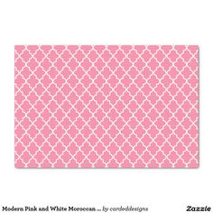 "Modern Pink and White Moroccan Quatrefoil 10"" X 15"" Tissue Paper"