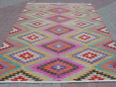 MODERN Bohemian Turkish Kelim Rug Carpet Handwoven Kilim by sofART, $645.00