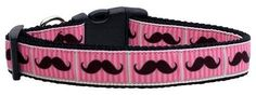 Mirage Pet Products Pink Striped Moustache Ribbon Dog Collar Large *** Find out more about the great product at the image link. (This is an affiliate link and I receive a commission for the sales)