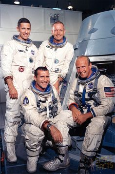 Standing: Bill Anders, Neil Armstrong - - Seated: Dick Gordon, Pete Conrad